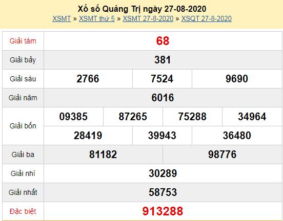 Kết quả xổ số Quảng Trị hôm nay thứ 5 ngày 27/8/2020