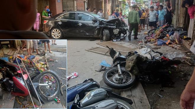 Phóng tốc độ cao, xe điên mất lái tông liên hoàn hàng loạt xe máy lưu thông trên đường