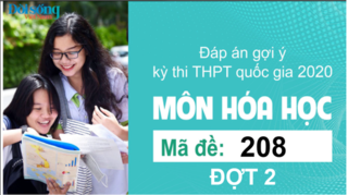 Đáp án đề thi môn Hóa Học mã đề 208 kỳ thi THPT Quốc Gia 2020 đợt 2