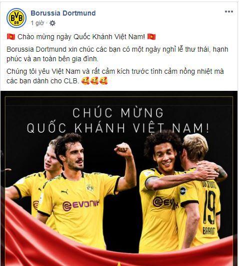 Nhiều đội bóng lớn chúc mừng ngày Quốc khánh Việt Nam
