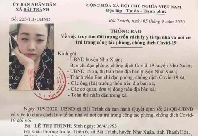 Một phụ nữ ở Thanh Hóa bỏ trốn khỏi nơi cư trú khi đang cách ly y tế