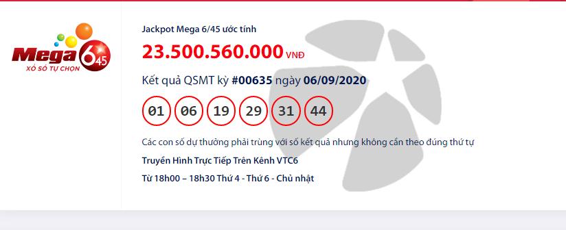 Kết quả xổ số Vietlott Mega 6/45 hôm nay chủ nhật ngày 6/9/2020:
