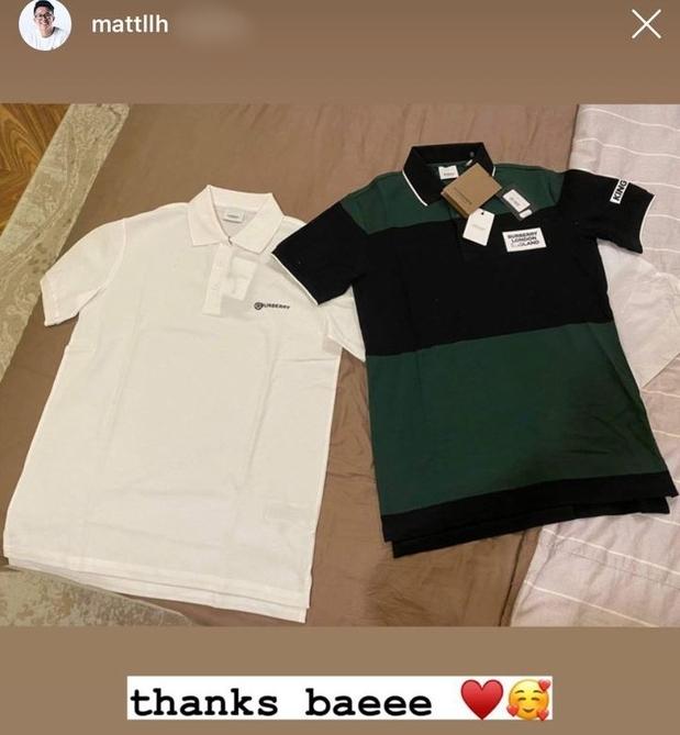 Matt Liu khoe được Hương Giang tặng áo hàng hiệu