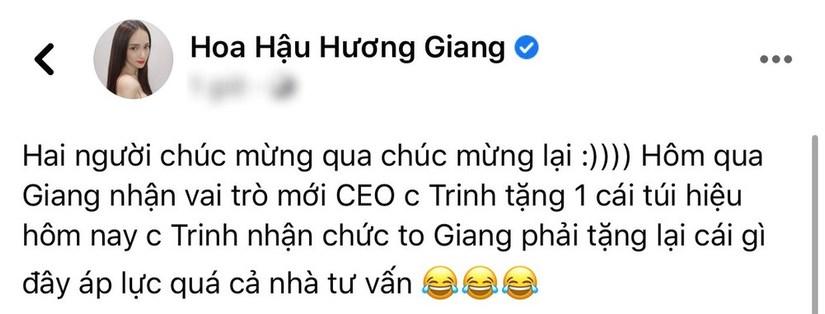Hương Giang đau đầu chọn quà mừng Ngọc Trinh lên chức Phó tổng