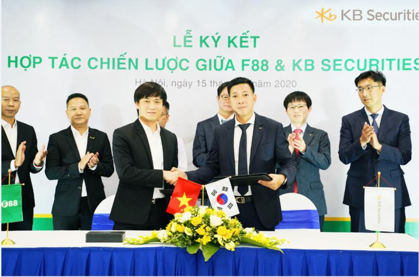 Lễ ký kết hợp tác chiến lược giữa Công ty cổ phần Kinh doanh F88, Công ty TNHH Chứng khoán KB Hàn Quốc và Công ty cổ phần chứng khoán KB Việt Nam