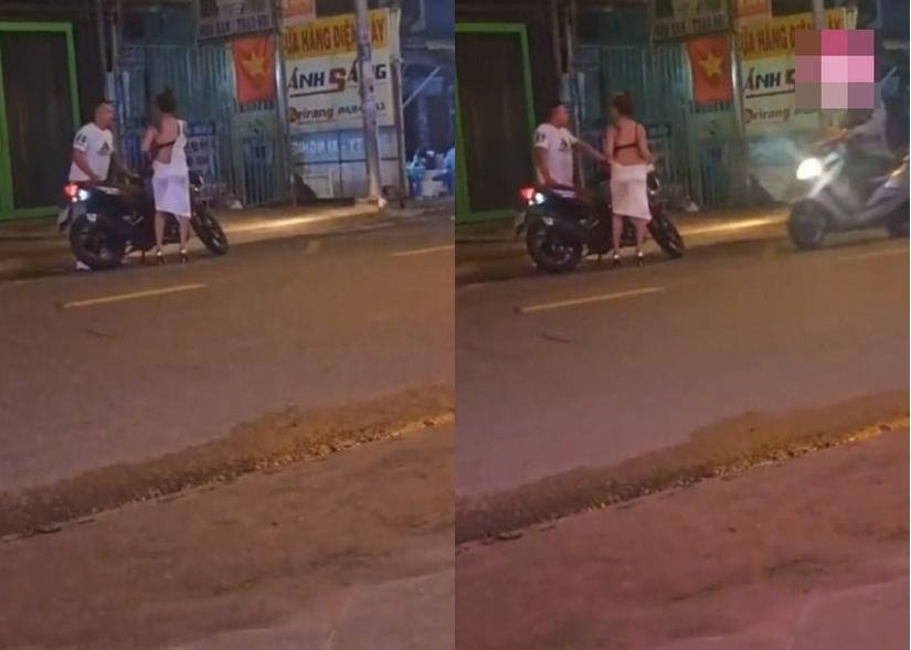 Xôn xao clip cô gái trẻ lột váy cãi nhau với bạn trai giữa đường