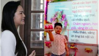 Nhật Kim Anh chạnh lòng trước lời chúc của cô giáo dành cho con trai