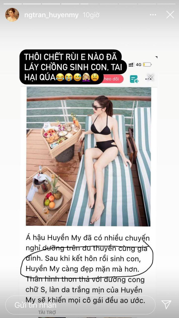 Á hậu Huyền My 'té ngửa' với tin đồn lấy chồng, sinh con