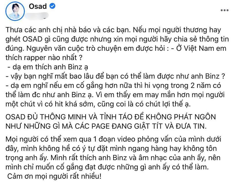 Osad chính thức gặp Binz để xin lỗi vì lùm xùm phát ngôn trên MXH