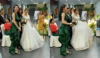 Đi diễn thấy đám cưới, Thủy Tiên 'dừng lại' để chúc phúc