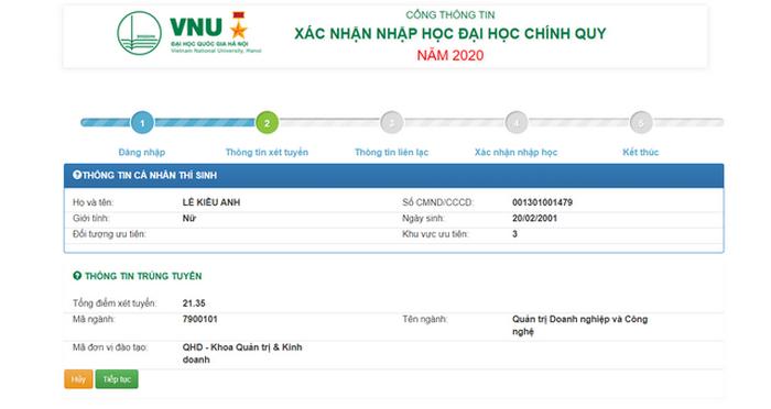 Hướng dẫn thí sinh Đại học Quốc gia Hà Nội tiến hành nhập học trực tuyến 2020. 5
