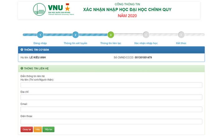 Hướng dẫn thí sinh Đại học Quốc gia Hà Nội tiến hành nhập học trực tuyến 2020. 4