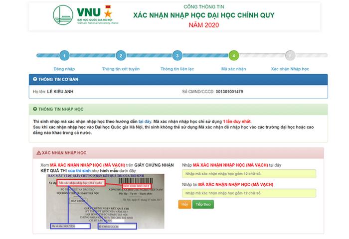 Hướng dẫn thí sinh Đại học Quốc gia Hà Nội tiến hành nhập học trực tuyến 2020. 3