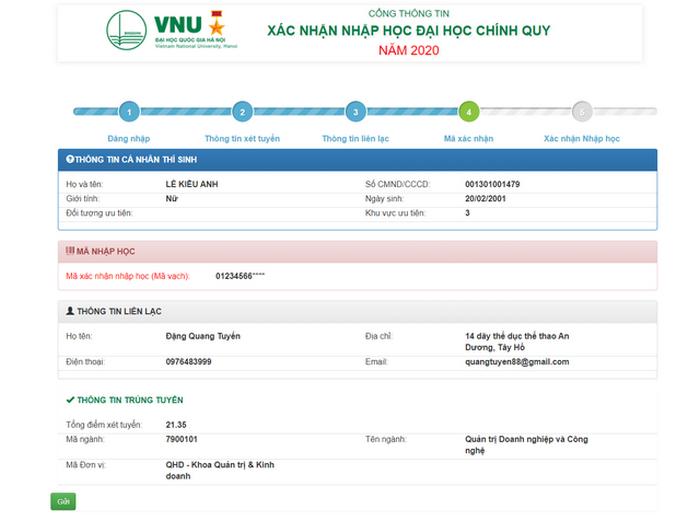Hướng dẫn thí sinh Đại học Quốc gia Hà Nội tiến hành nhập học trực tuyến 2020.2