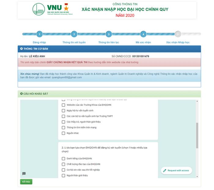 Hướng dẫn thí sinh Đại học Quốc gia Hà Nội tiến hành nhập học trực tuyến 2020