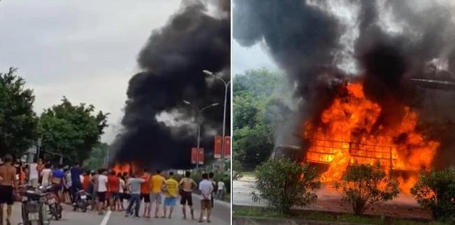 Xe tải bốc cháy trên đường, nhiều con bò bị thiêu chết