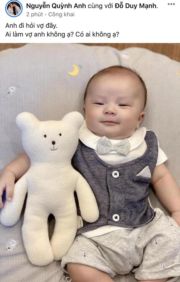 Dù con trai mới được 2 tháng, bà xã Duy Mạnh đã lên tiếng kén con dâu