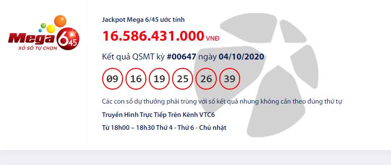 Kết quả xổ số Vietlott Mega 6/45 hôm nay chủ nhật ngày 4/10/2020: