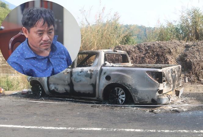 Đối tượng Minh và hiện trường giả vụ cháy xe.
