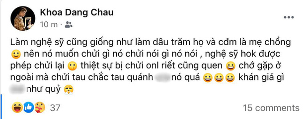 Châu Đăng Khoa bất ngờ gọi cộng đồng mạng là 'mẹ chồng', tuyên bố đánh trả nếu bị chửi ở ngoài?
