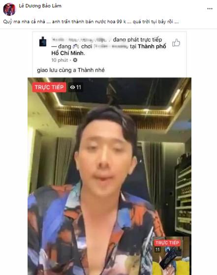 Lê Dương Bảo Lâm bức xúc khi Trấn Thành bị giả mạo hình ảnh để bán nước hoa 99k