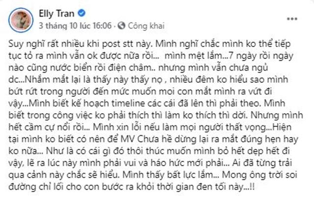 Elly Trần tiết lộ trầm cảm, từng giam mình trong bốn bức tường