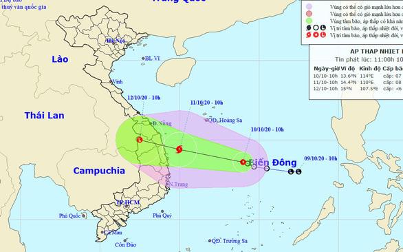 Áp thấp nhiệt đới có thể mạnh lên thành bão, đổ bộ Quảng Nam - Phú Yên
