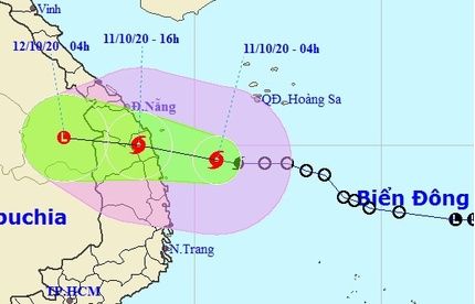 Bão số 6 đang thẳng hướng tiến vào các tỉnh từ Quảng Nam đến Bình Định