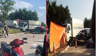 Xe con do người phụ nữ cầm lái tông xe tải, 2 người tử vong tại chỗ
