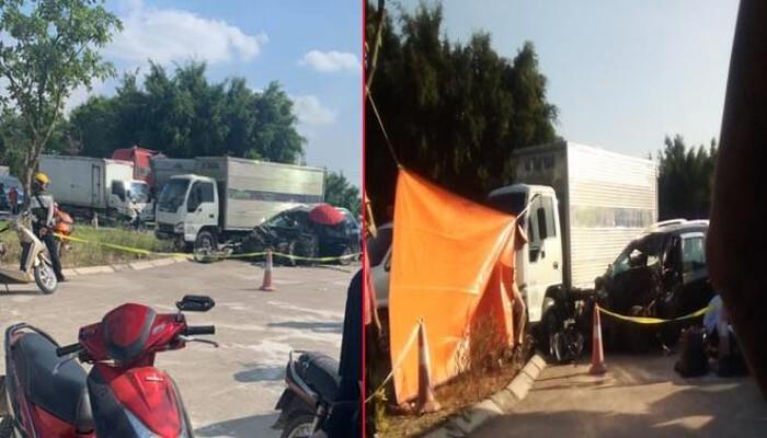 Xe con tông trực diện xe tải, 5 người trong một gia đình thương vong