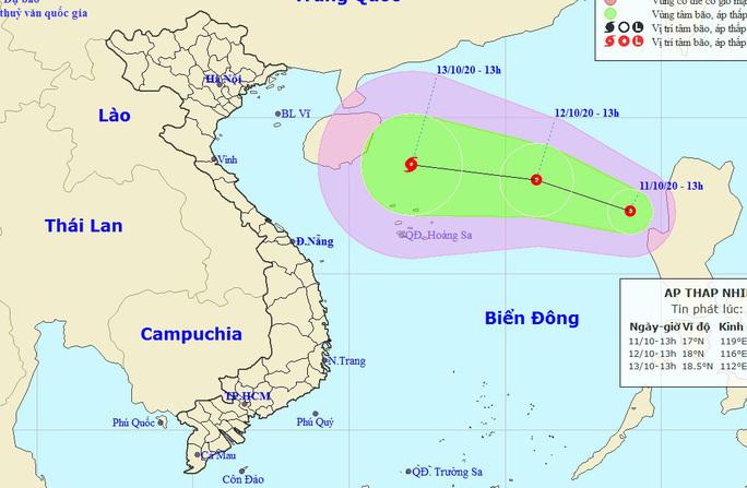 Dự báo vị trí và hướng di chuyển của áp thấp nhiệt đới