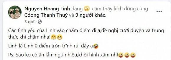 MC Hoàng Linh khoe được 0 điểm trên thang điểm 10 cho vợ đảm