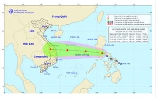 Áp thấp nhiệt đới vào biển Đông, hướng vào Miền Trung