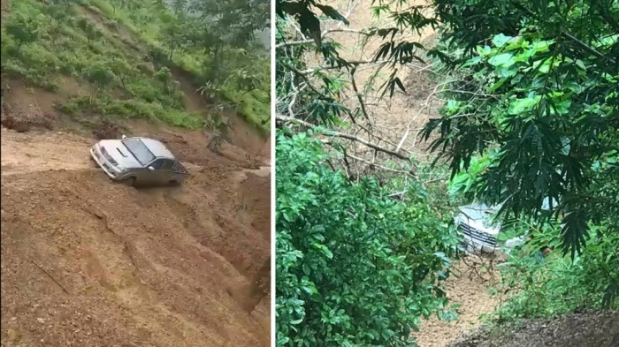 Kinh hoàng giây phút sạt lở taluy dương ở Sơn La, xe bán tải rơi xuống vực