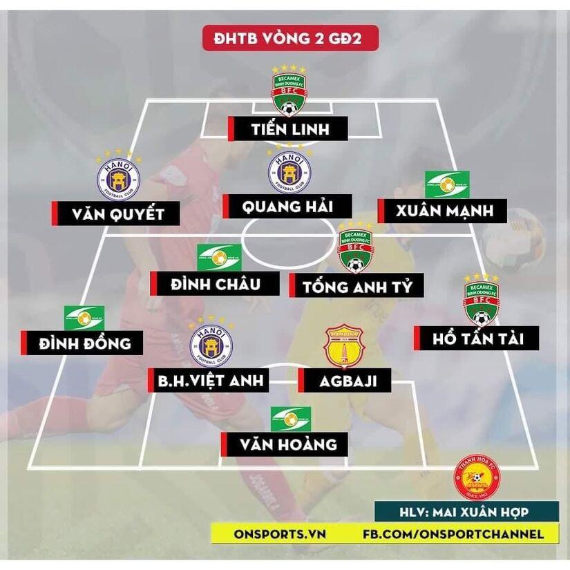 Đội hình tiêu biểu vòng 2 GĐ 2 V.League