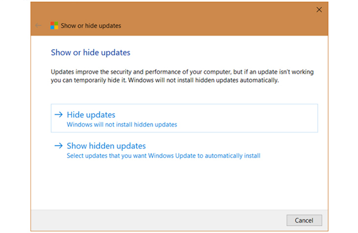 Show or hide updates 1