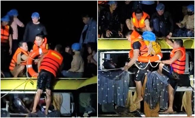 Trăm người tham gia giải cứu xe khách Nam Định bị lũ cuốn trôi trong đêm