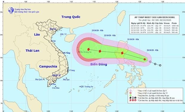Áp thấp nhiệt đới trên biển Đông có thể thành bão di chuyển theo hướng Tây Tây Bắc