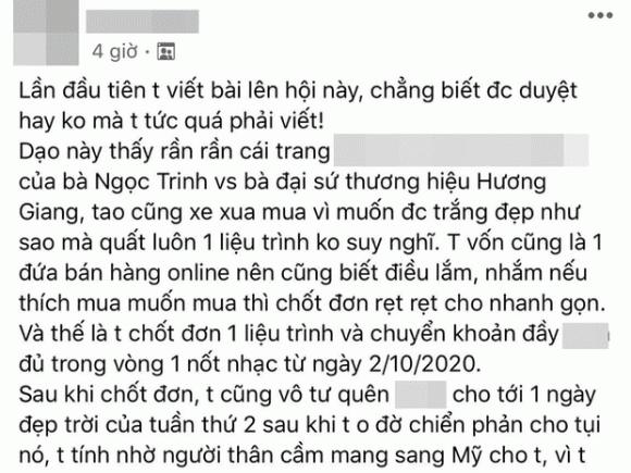 Bài đăng bức xúc về cách làm việc của công ty của Ngọc Trinh và Hương Giang làm đại diện