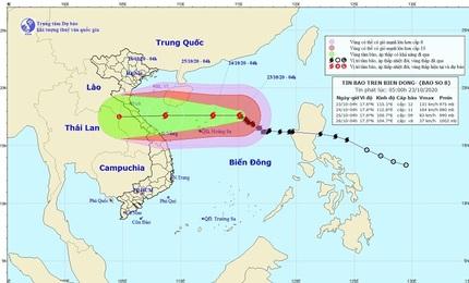 Bão số 8 hướng vào Hà Tĩnh, Quảng Trị với sức gió giật cấp 15