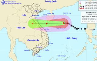 Bão số 8 hướng vào đất liền các tỉnh từ Hà Tĩnh đến Quảng Trị và suy yếu