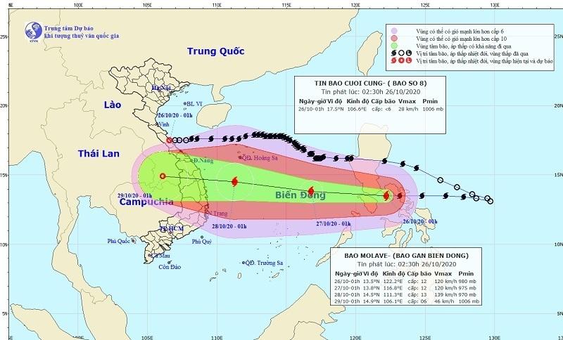 Bão số 9 tăng cấp, hướng vào các tỉnh từ Đà Nẵng đến Phú Yên