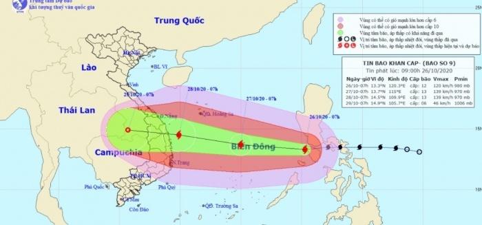 Chưa đầy 36 tiếng nữa, bão số 9 giật cấp 17 sẽ đổ bộ