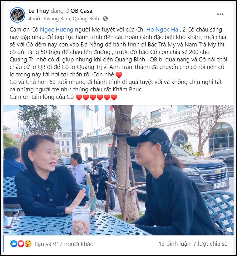 Hồ Ngọc Hà than thở 'mẹ mất tích cả tuần nay', tiết lộ Trấn Thành gửi thêm tiền cứu trợ miền Trung