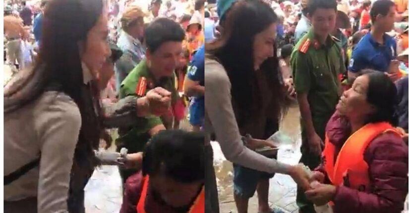 Thủy Tiên vội vàng dúi thêm tiền vào tay người phụ nữ nghèo khiến người hâm mộ cảm phục