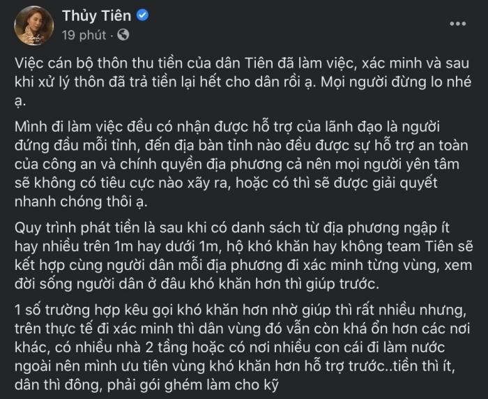 Thủy Tiên lên tiếng về ồn ào 69 hộ dân bị thu lại tiền, làm rõ chuyện bà con chê bánh chưng gây xôn xao