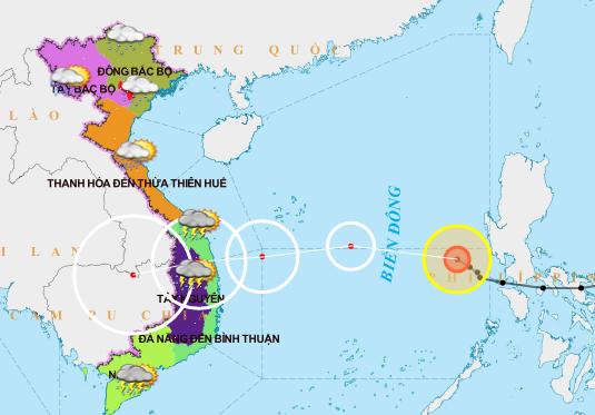 Cảnh báo bão số 10 gây ra đợt mưa lớn diện rộng ở các tỉnh miền Trung