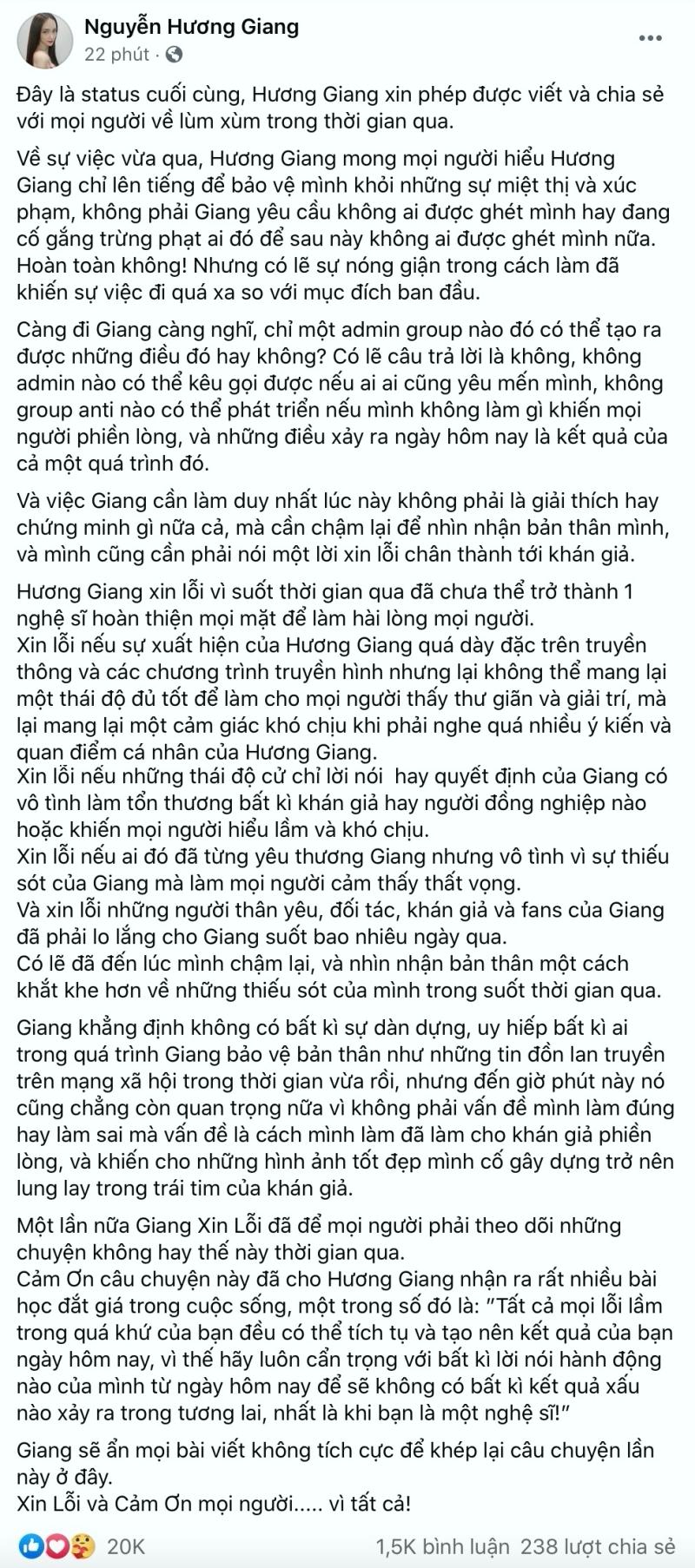 Hương Giang chính thức gửi lời xin lỗi đến khán giả sau ồn ào bị cộng đồng mạng tẩy chay