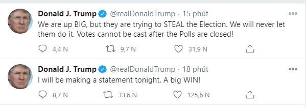 Ông Trump tuyên bố đã thắng cử gây tranh cãi.1