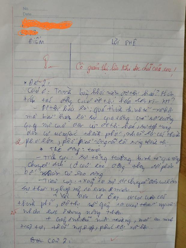 Bài kiểm tra được điểm 8 nhưng nam sinh khiến cô giáo vừa chấm bài vừa tức anh ách, phải phê ngay một câu